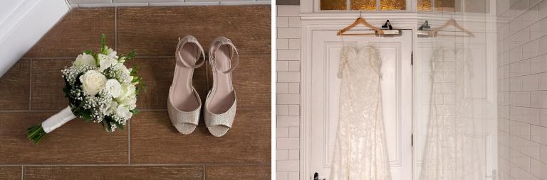 Wedding Bouquet, shoes and dress prep
