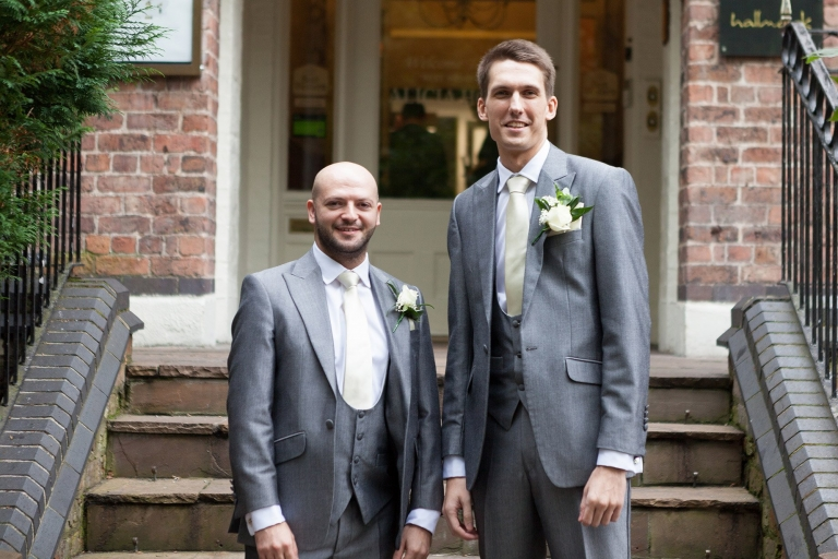 Best man and groom outside Liverpool Sefton Park Sure Hotel