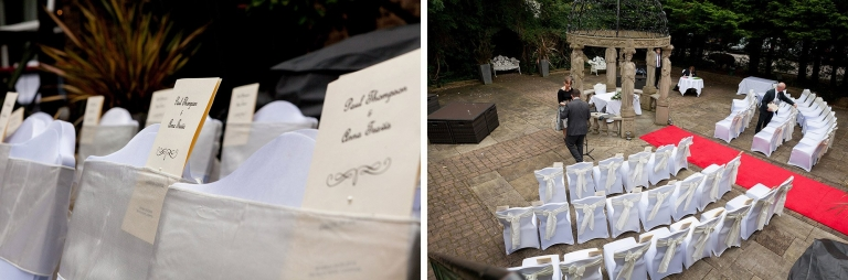 Chairs set up for outdoor wedding at  Liverpool Sefton Park Sure Hotel