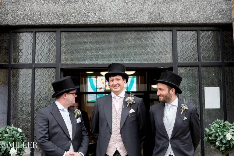 groomsmen waiting outside St. Clares church fulwood preston
