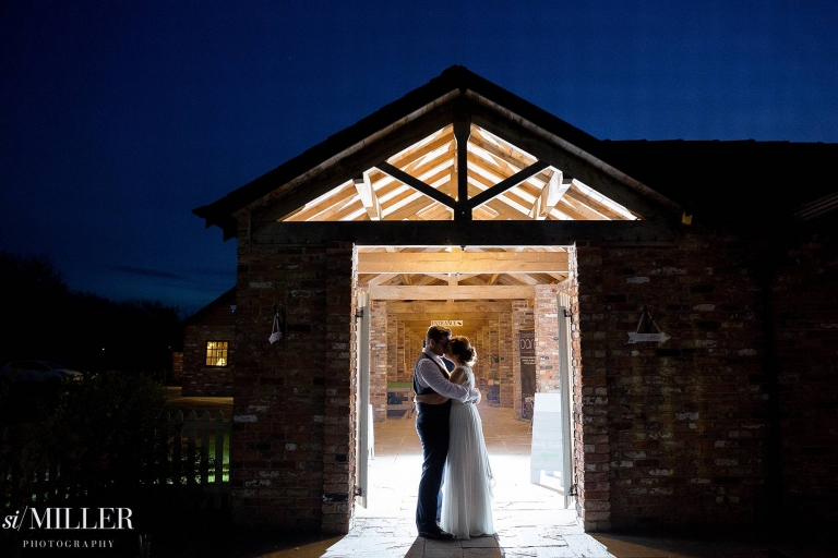 Couple light by flash at night at Charnock Farm