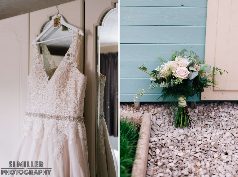 Wedding detail shots of dress and wedding bouquet with shallow depth of field