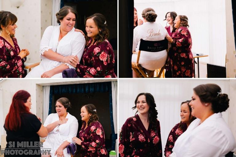 bride and bridesmaids laughing naturally