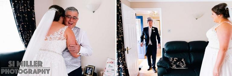 Father of bride and brides grandpa first look at home in Preston