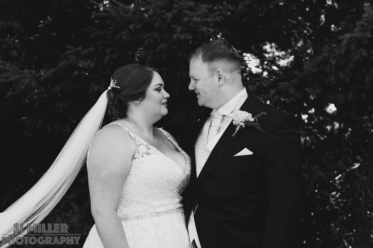 Black and white photograph of the newly weds by Preston Wedding photographer