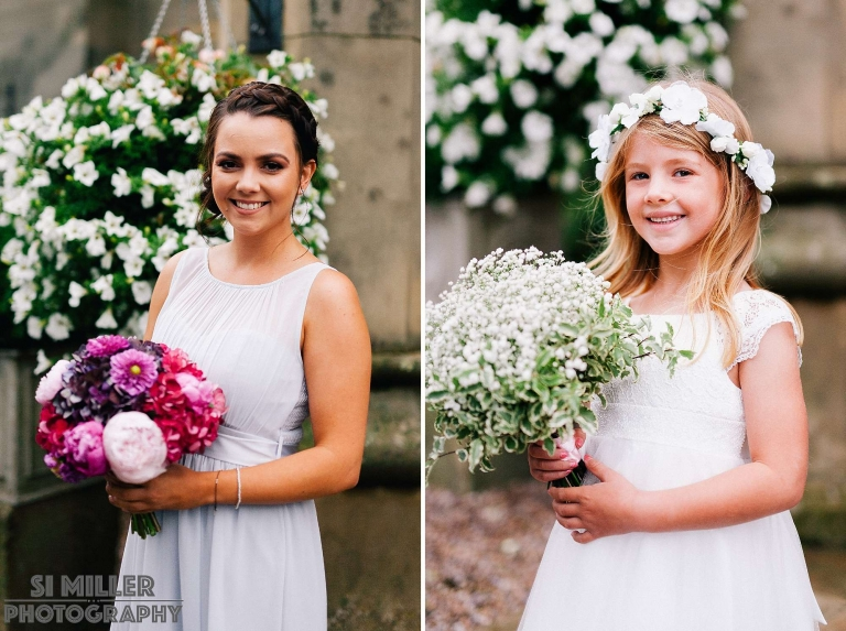 portraits of one of the bridesmaid and flower girl with their bouquets