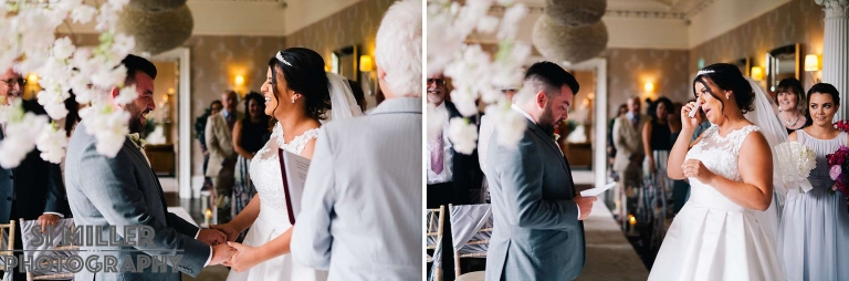 Bride crying as groom says personal wedding vows