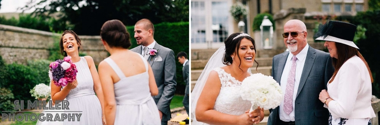 natural documentary shots of Bridal party have a good laugh