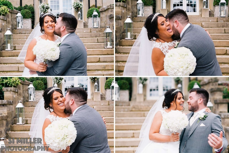 bride and groom have a cuddle and kiss