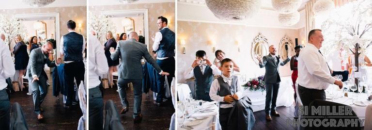 best man dancing his way into the wedding breakfast