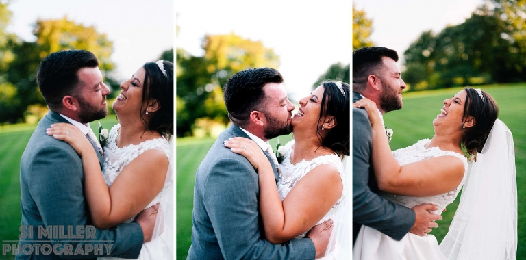 groom trying to steal a kiss as bride is laughing