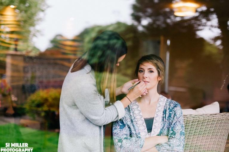 Bride getting hair and make up Stirk House wedding photographer lancashire