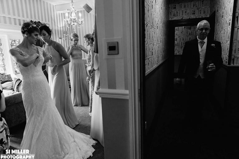 wedding dress first look reveal Stirk House wedding photographer lancashire