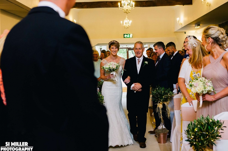 walking down the aisle Stirk House wedding photographer lancashire