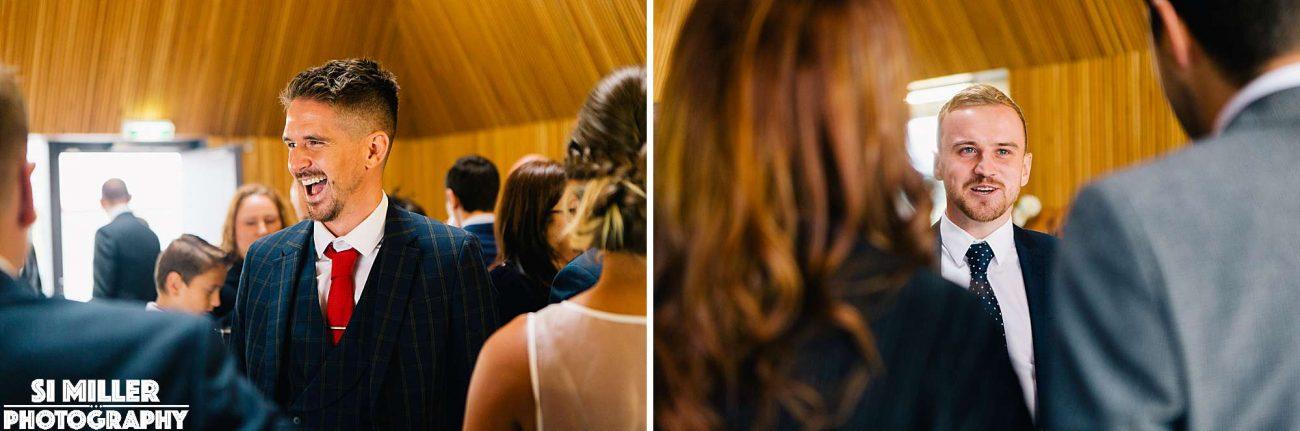 wedding guests laughing at brockholes preston
