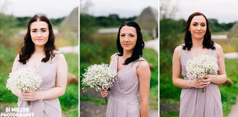 bridesmaids with bouquets at brockholes