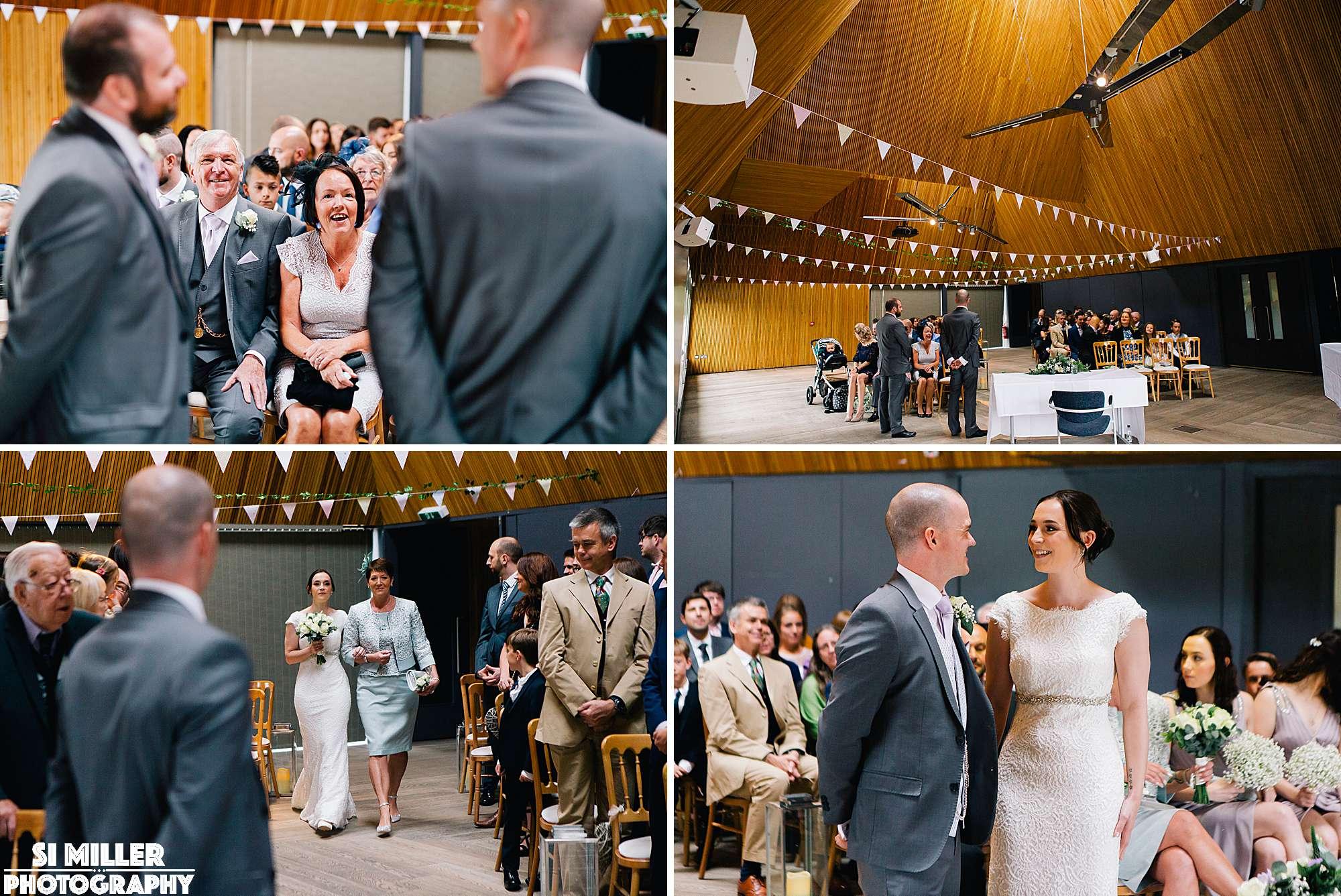 wedding guests waiting for bride s entrance at brockholes