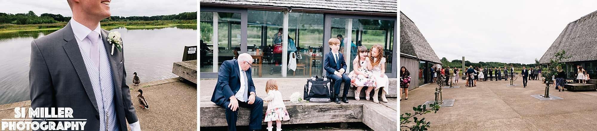 wedding guests on the brockholes island