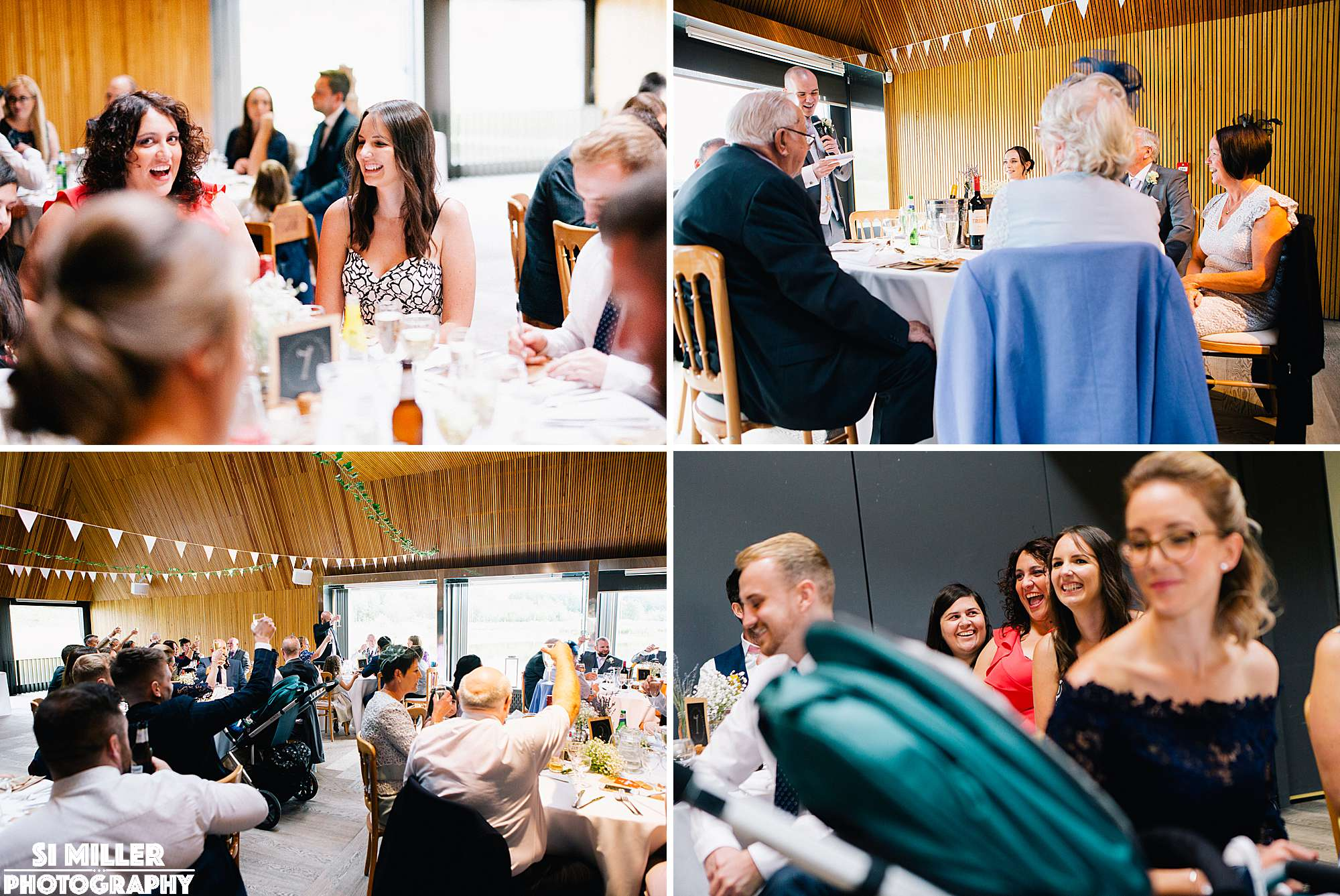 Weddin guests laughing at speeches at brockholes