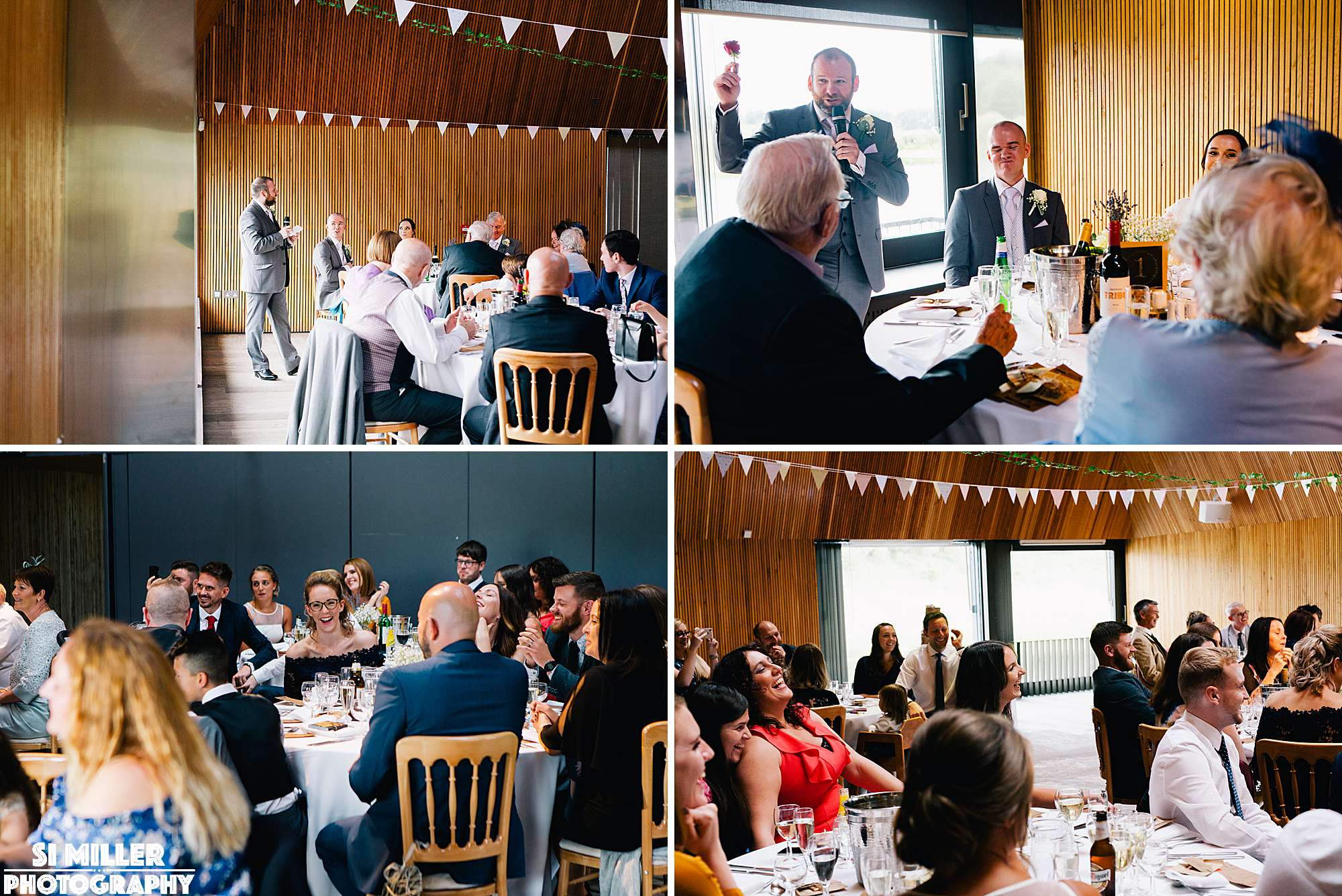 Best man giving speech in the meadow lake suite at brockholes nature reserve preston