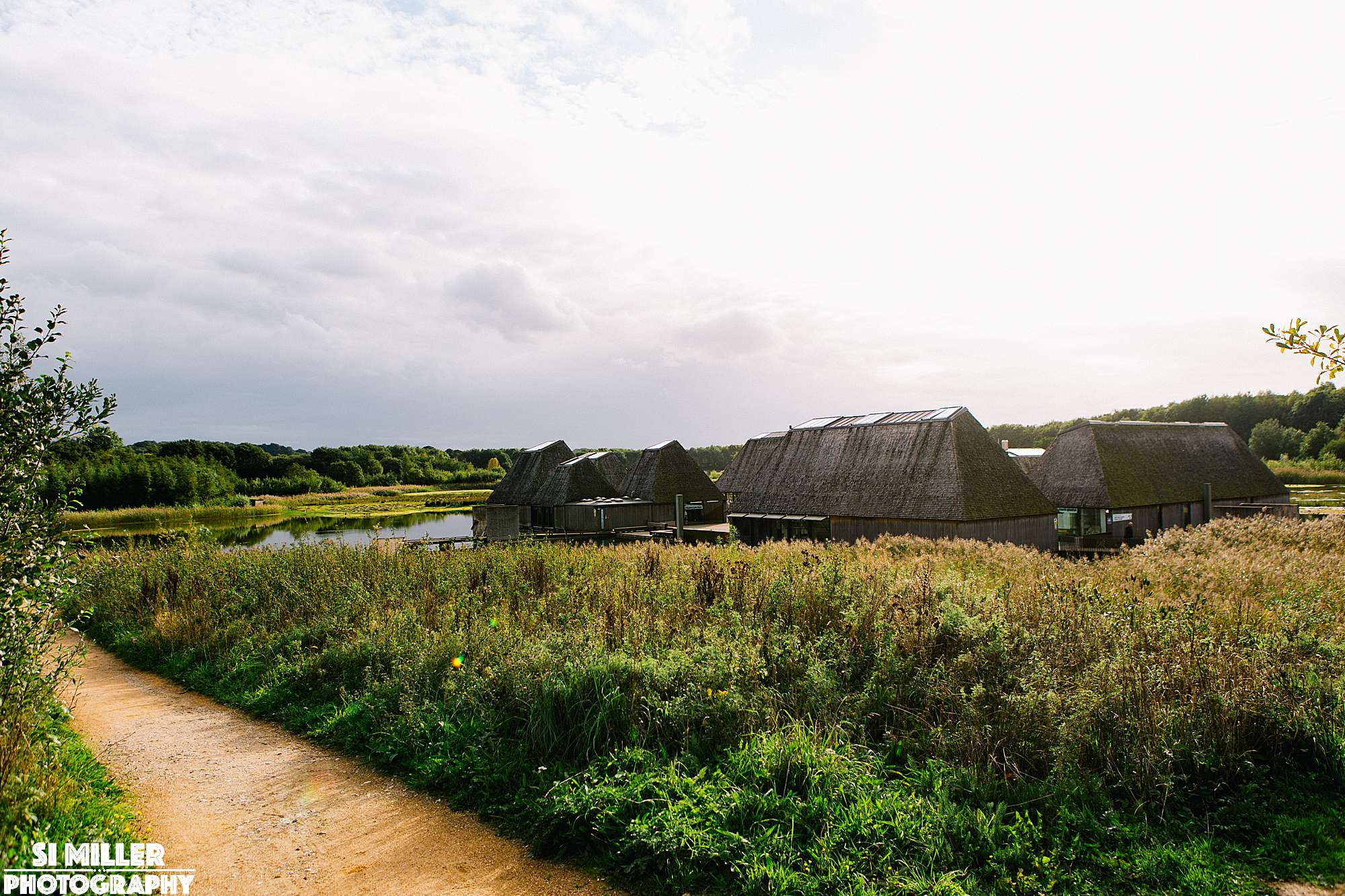 Brockholes floating island vistor centre with path leading to it