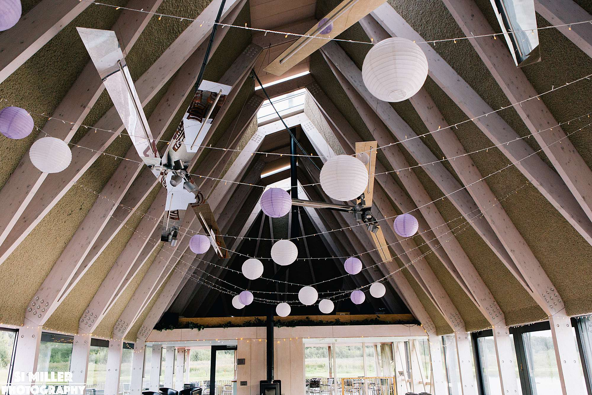 Purple and white lanterns decorating the restaurant at brockholes Preston