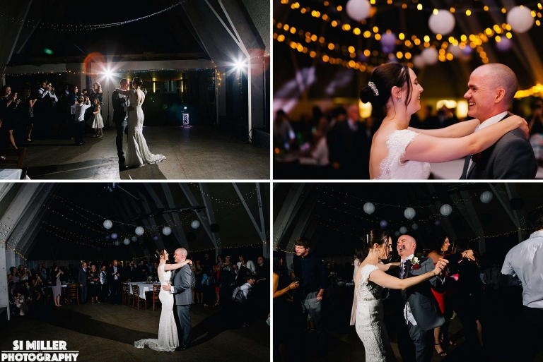 Bride and grooms first dance at brockholes