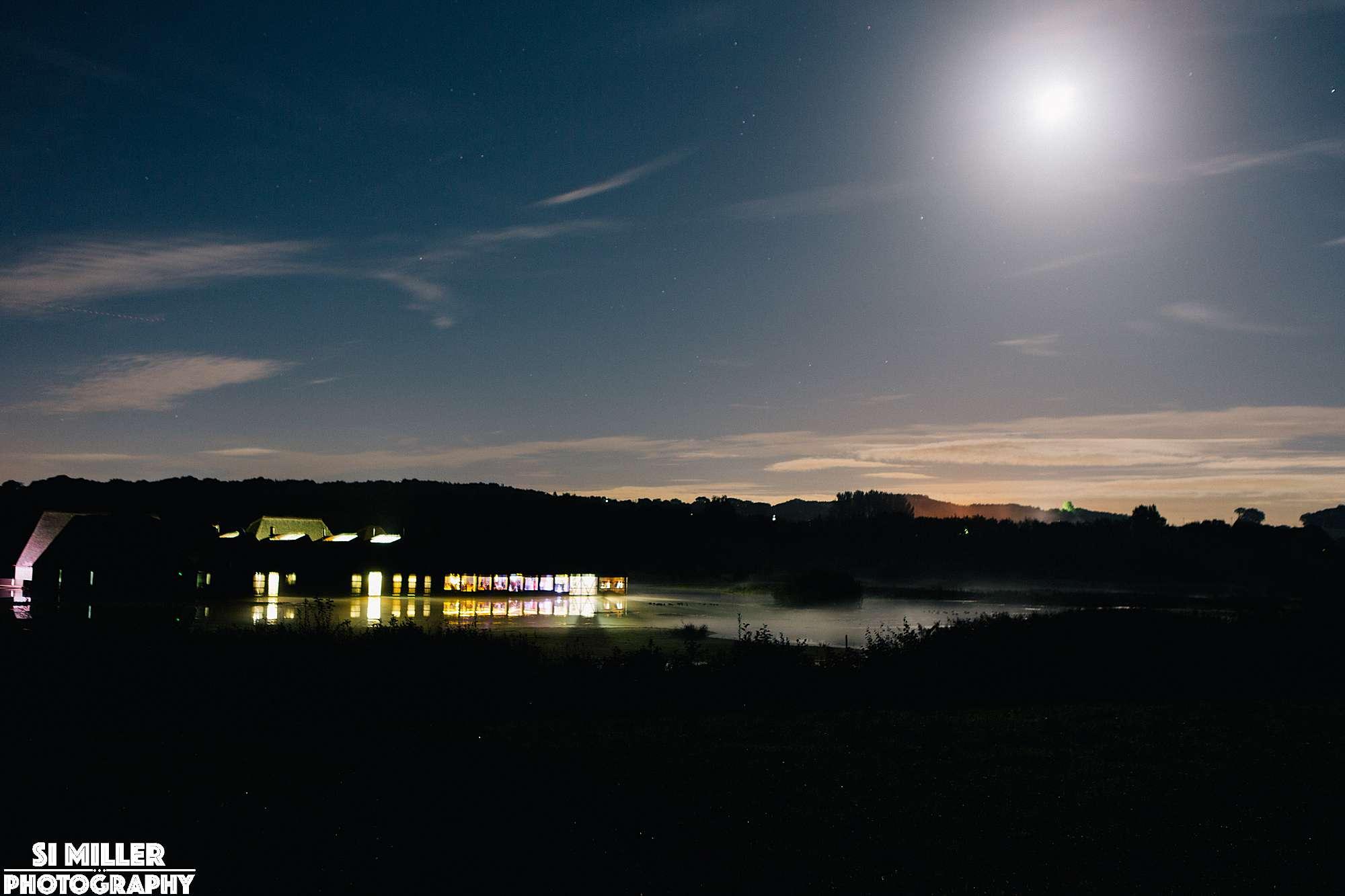 Brockholes vistor island at night light by the moon