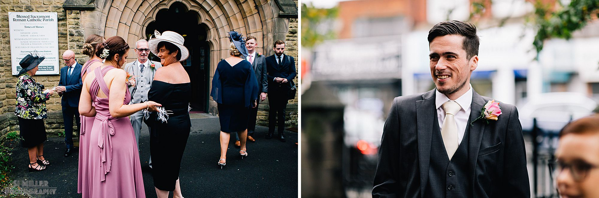 wedding guests arriving at Blessed Sacred Church Liverpool