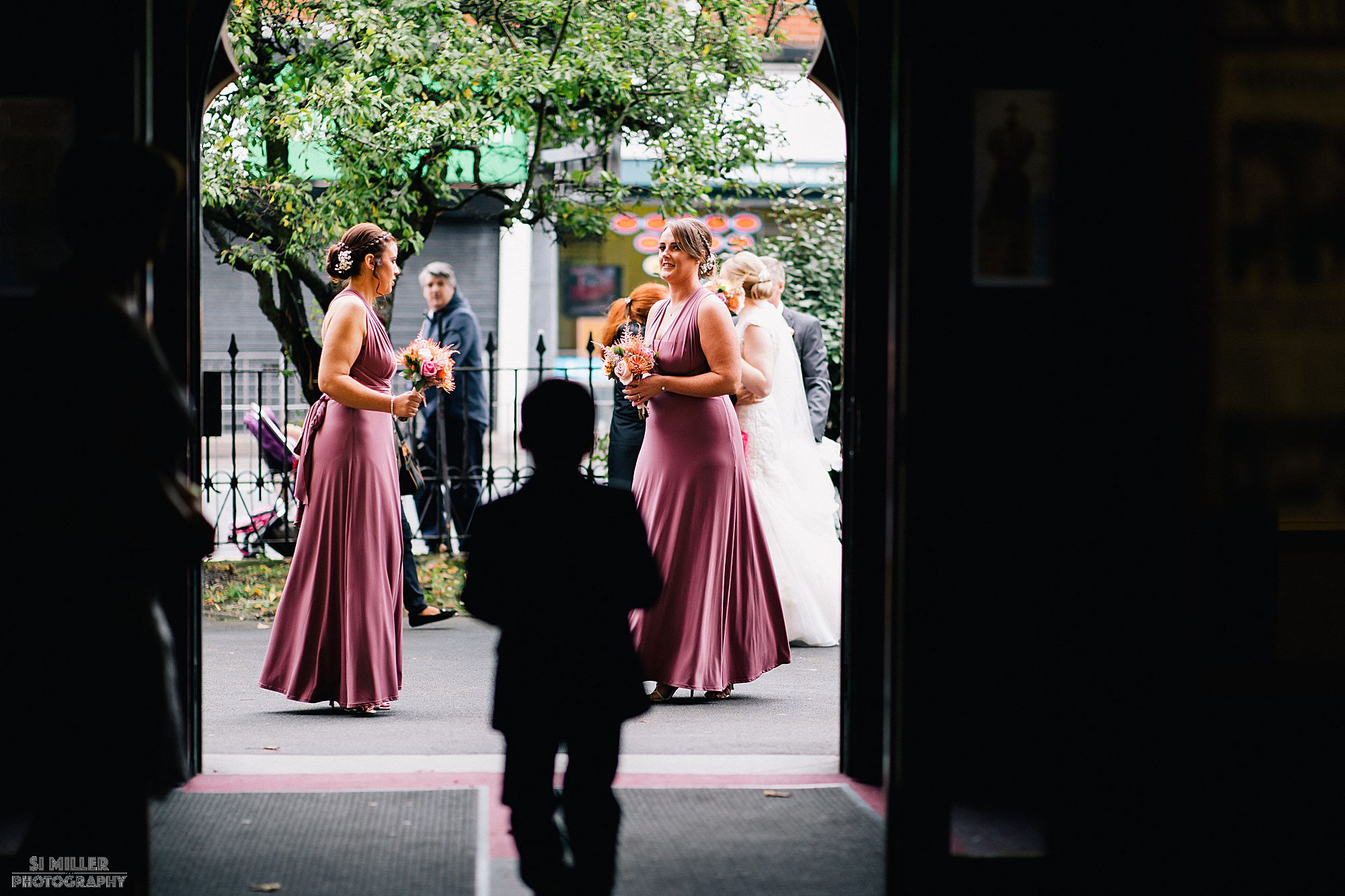 bridal party arriving at Blessed Sacred Church Liverpool