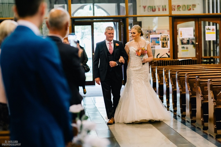 bride walking down the aisle Blessed Sacred Church Liverpool