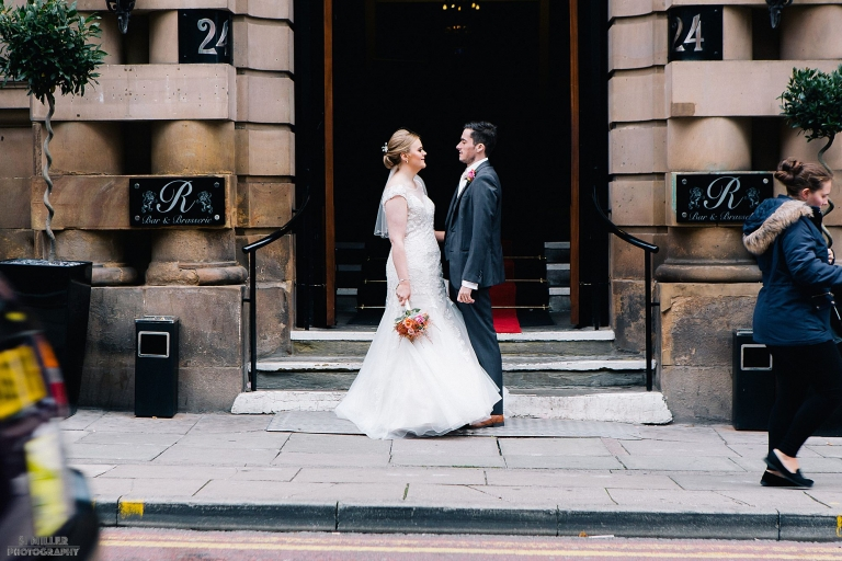 bride and groom outside Richmond Hotel Liverpool