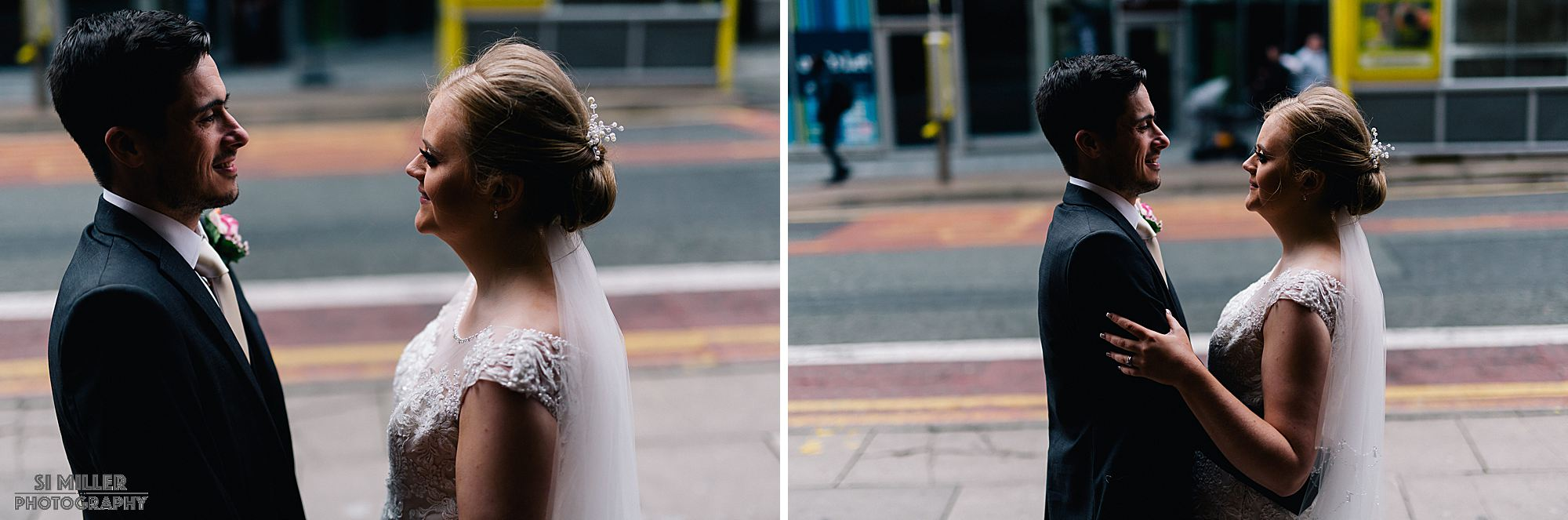 bride and groom cuddling for photos outside The Richmond Liverpool