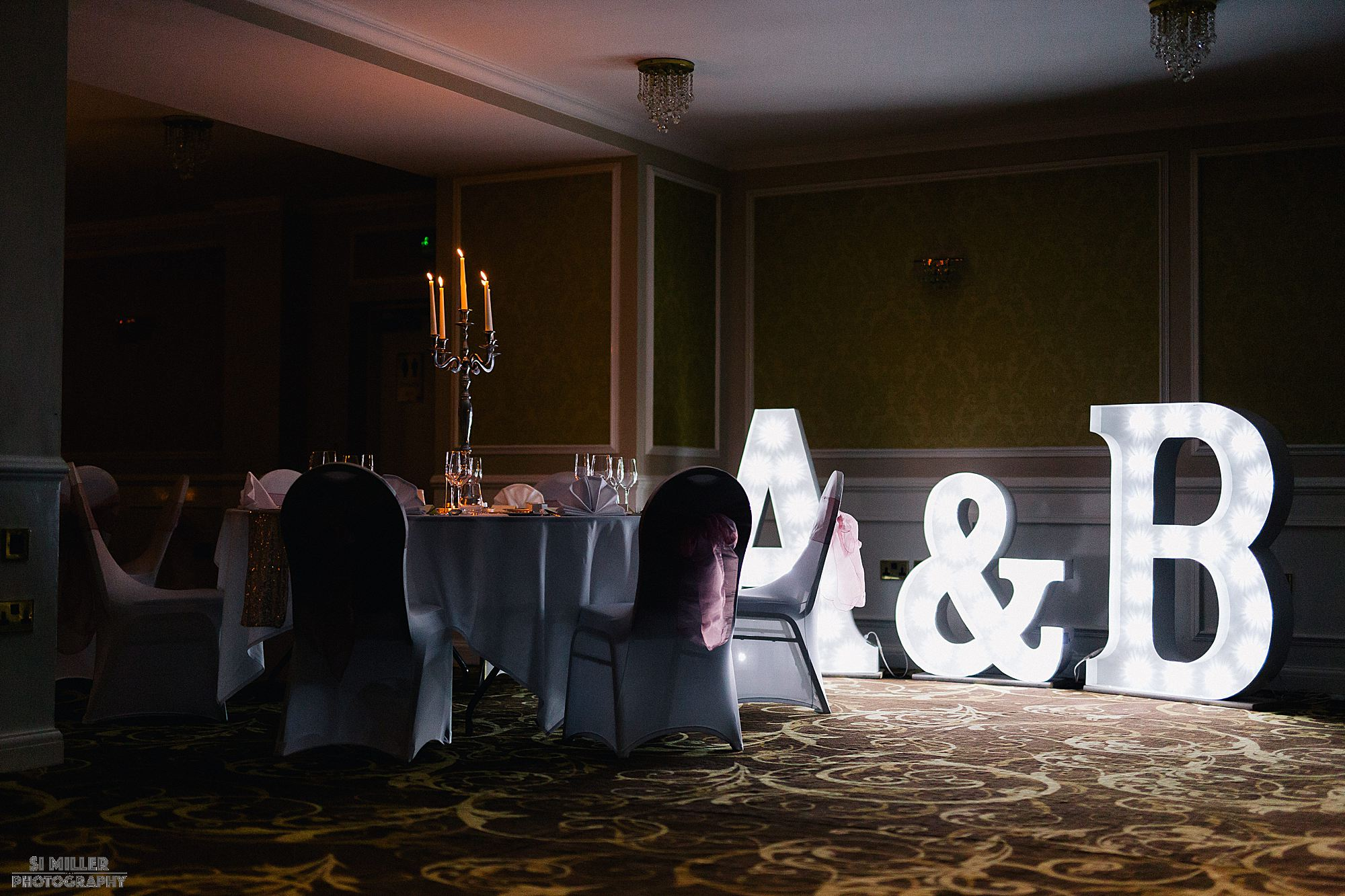 giant letters wedding decoration in Richmond Hotel Liverpool
