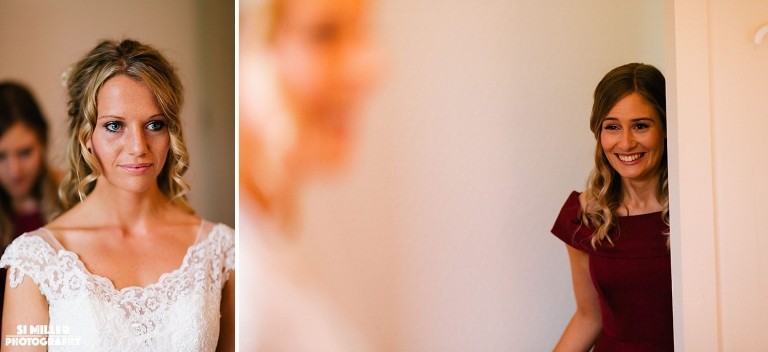 Sister seeing bride in her wedding dress for the fist time
