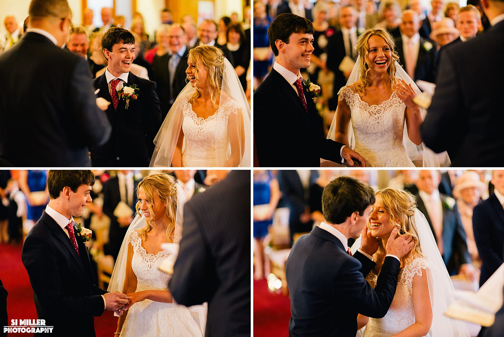 Bride and groom laughing and smiling during wedding ceremony preston