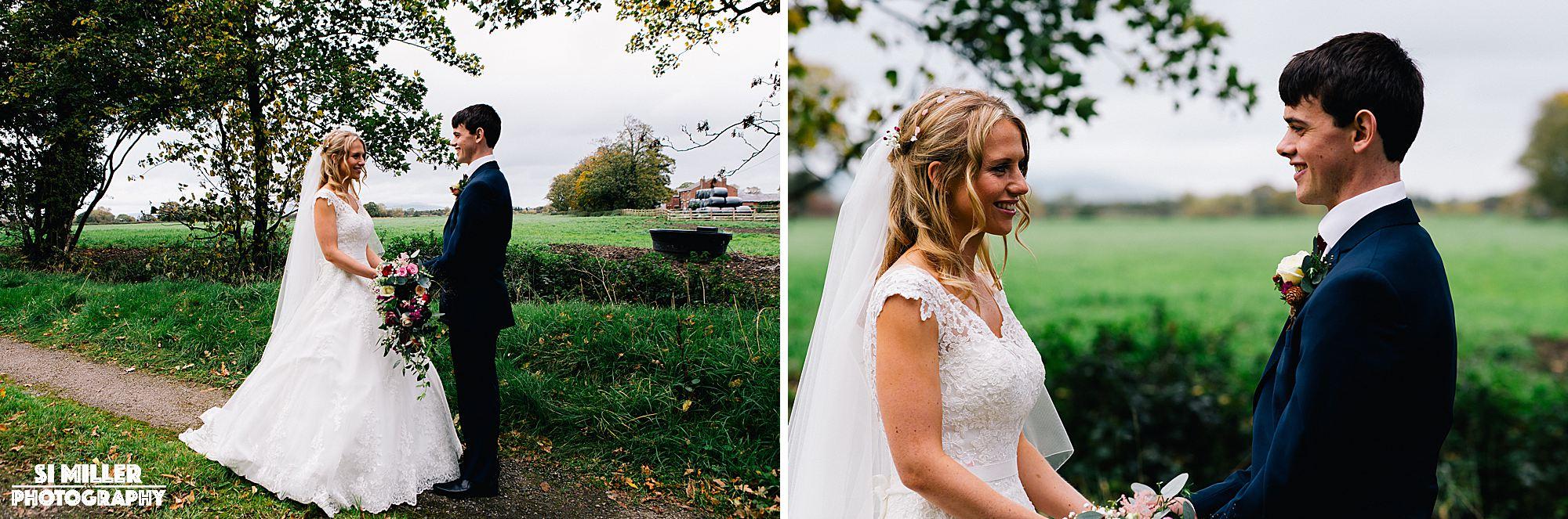 Newly weds portraits on farm preston