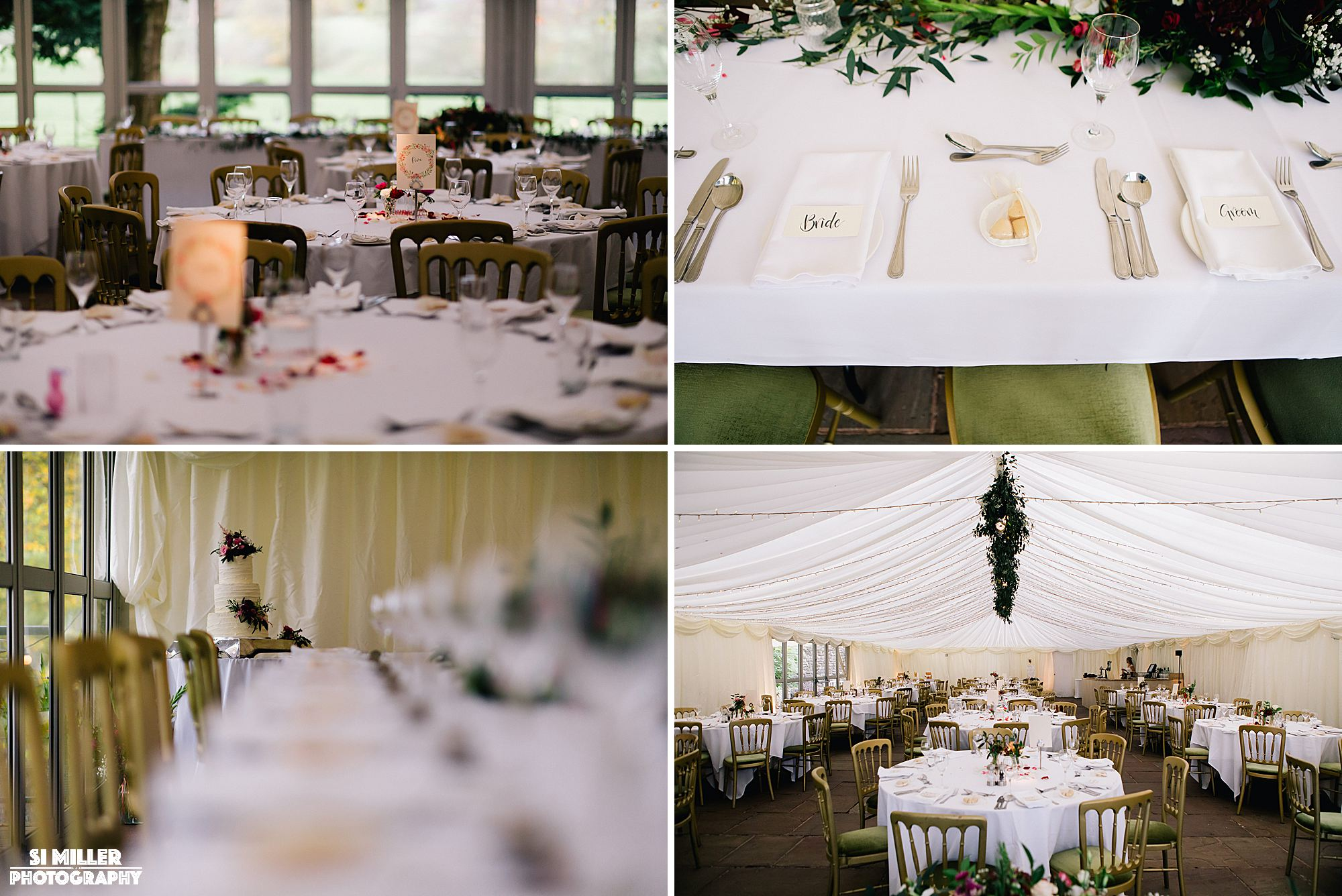 Table decorations in marquee at Inn at Whitewll
