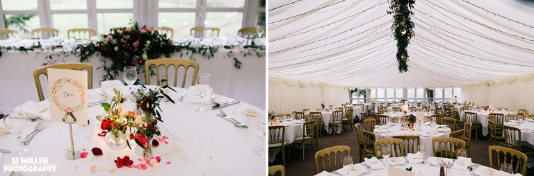 Table settings in marquee at Inn at Whitewell