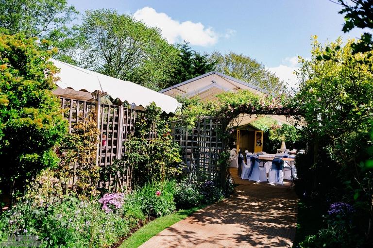 Marquee set in back garden at home in Preston