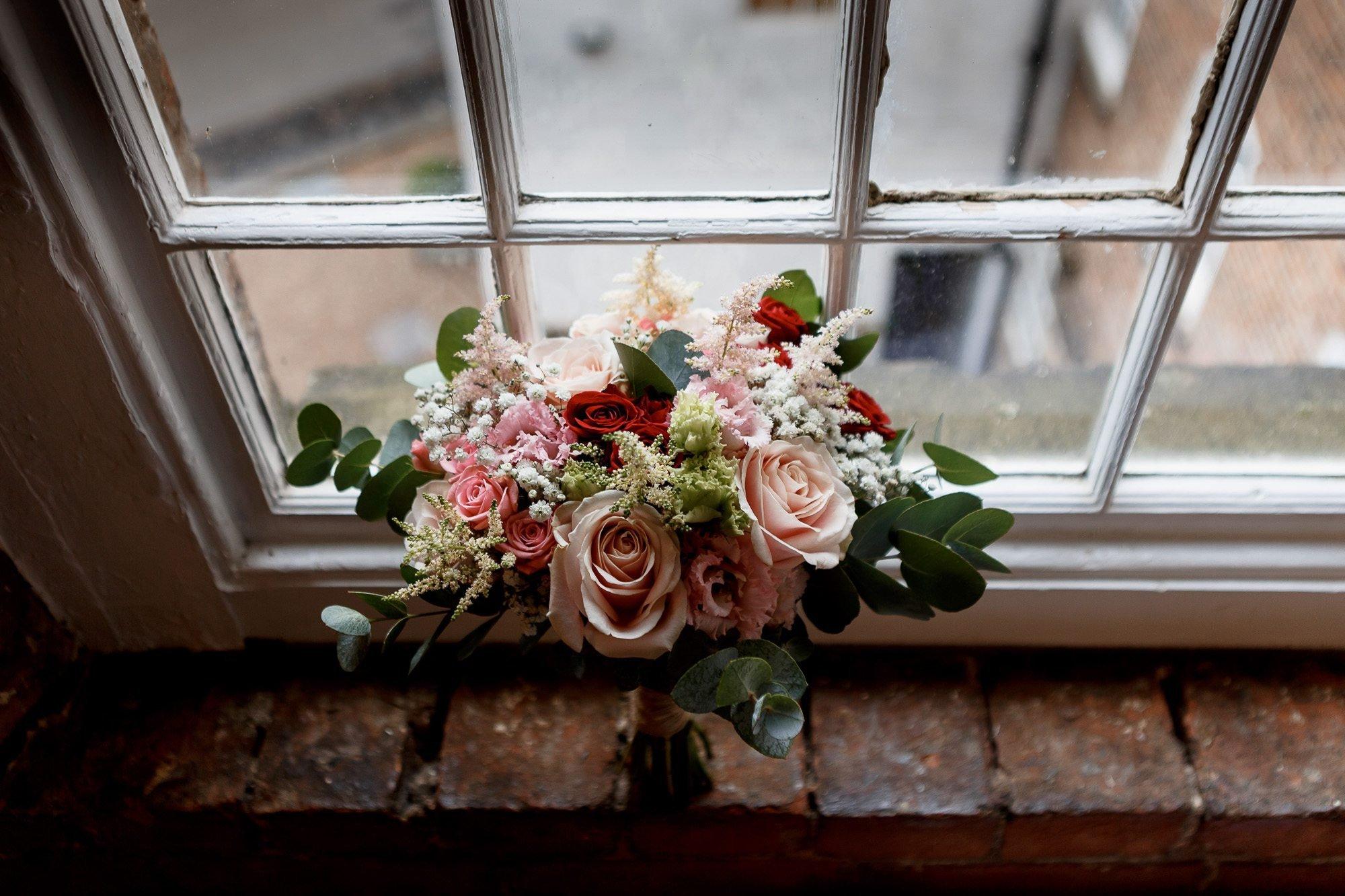 Wedding flowers in window