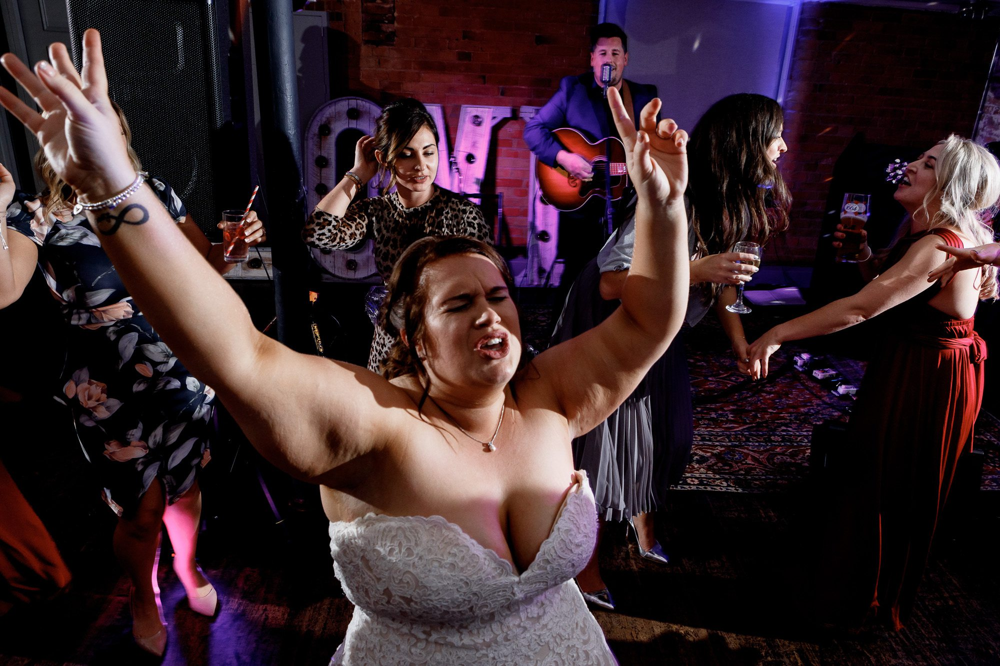 Bride dancing at west mill