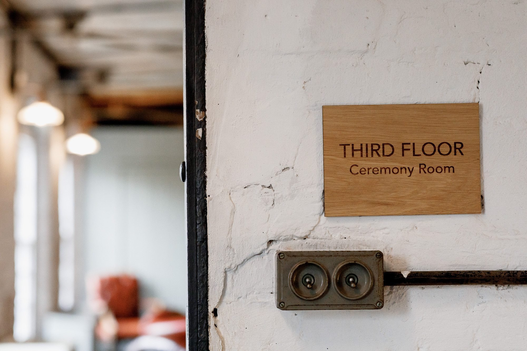 sign for ceremony room at The West Mill